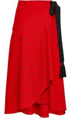 Amanda Wakeley Tasseled Laser-cut Wool-blend Midi Wrap Skirt