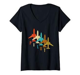 Womens Vintage Pilot Airplane Shirt Funny Airplane Aircraft Tees V-Neck T-Shirt