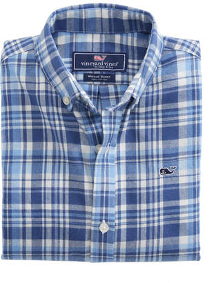 Vineyard Vines Boys Mill Hill Flannel Whale Shirt