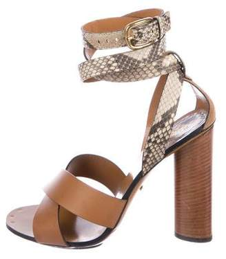 Gucci Snakeskin-Accented Crossover Sandals