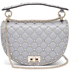 Valentino Rockstud Spike Saddle Bag - Womens - Light Blue