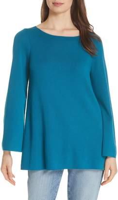 Eileen Fisher Bateau Neck Merino Wool Tunic Top
