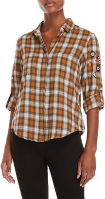Velvet Heart Yellow Embroidered Plaid Shirt
