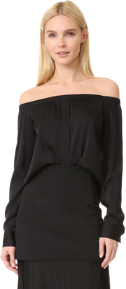 DKNY Long Sleeve Off Shoulder Top $198 thestylecure.com