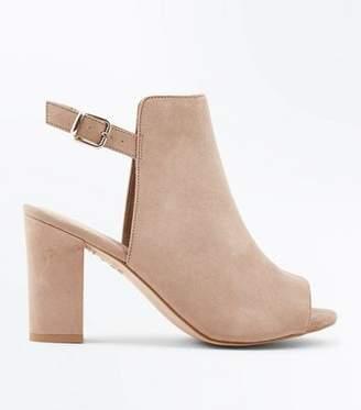New Look Wide Fit Brown Comfort Suedette Slingback Block Heels