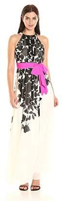 Eliza J Women's Halter Maxi with Pink Sash
