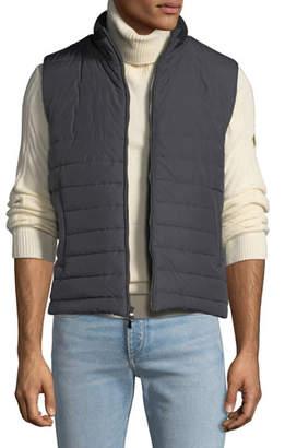 Neiman Marcus Men's Zip-Front Puffer Vest, Gray/Black