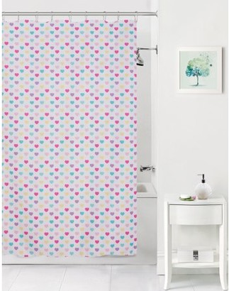 Mainstays Kids Colorful Hearts Coordinating Fabric Shower Curtain