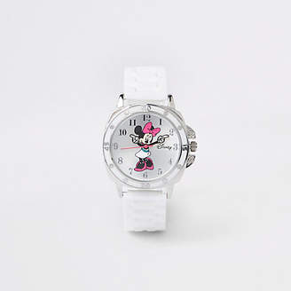 River Island Girls white rubber strap Minnie Mouse watch