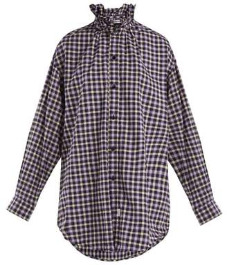 Balenciaga Ruffle Neck Cotton Flannel Shirt - Womens - Purple Multi