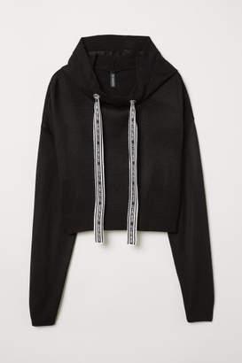 H&M Fine-knit Hooded Sweater - Black