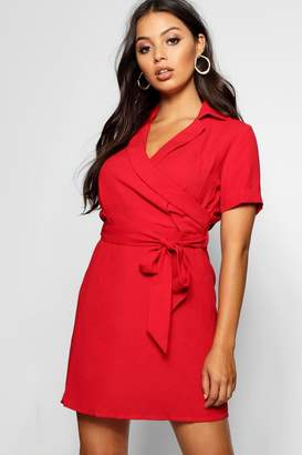 boohoo Petite Woven Wrap Tailored Dress