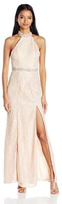 My Michelle Sequin Hearts by Junior's Long Lace Prom Dress with Jeweled Collar and Belt