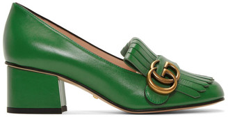 Gucci Green Marmont Mid-Heel Pumps