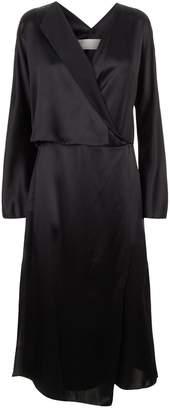 Vince Wrap Front Silk Midi Dress