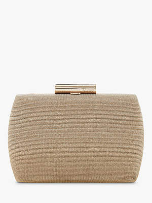Dune Brights Clutch Bag, Gold Leather