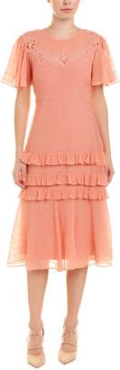 Rebecca Taylor Pinwheel Silk-Blend Midi Dress