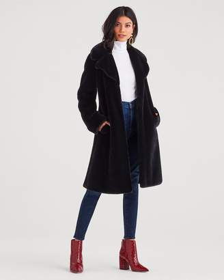7 For All Mankind Faux Fur Long Chubby Coat in Black