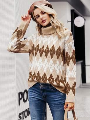 Shein Simplee Argyle Turtle Neck Sweater