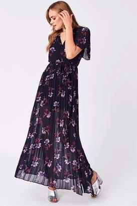 Liquorish Navy Pleated Floral Chiffon Dress
