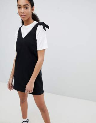 Noisy May mini denim jumper dress in black