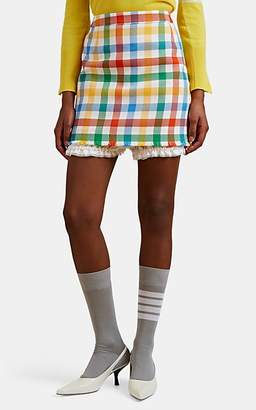 Thom Browne Women's Gingham Basket-Weave Jacquard Bloomer-Lined Skirt