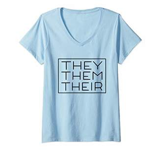 Womens They Them Their Pronouns Trans Nonbinary LGBTQ Gender Fluid V-Neck T-Shirt