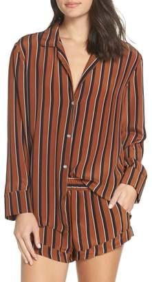 Maison du Soir Fleur Striped Silk Pajama Top