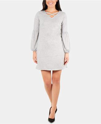915ba69f6f NY Collection Petite Lattice-Neck Dress