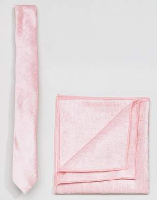 Asos Velvet Tie and Pocket Square in Pink