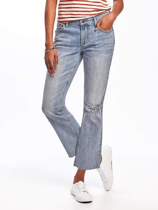 Old Navy Distressed Flare Ankle Mid-Rise Jeans for Women