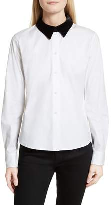 Theory Velvet Collar Stretch Cotton Shirt