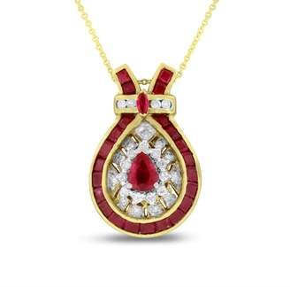 18K Yellow Gold 1.70ct. Diamond & Ruby Fashion Tear Drop Pendant Necklace