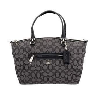 Coach Prairie Ladies Medium Leather & Canvas Satchel Black Smoke Handbag 58875