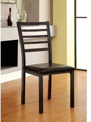 Furniture of America Norell Modern Ladder-Back Dining Chair, Black, 2pk