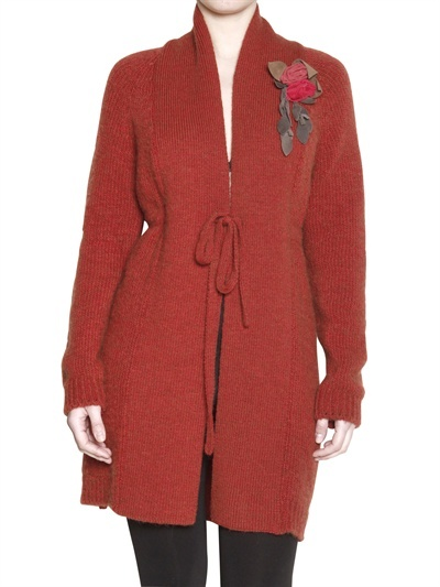 Appartamento 50 Knitted Cardigan With Leather Flower Pin