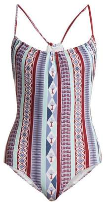 Le Sirenuse, Positano - Sofia Arlechino Print Scoop Neck Swimsuit - Womens - Blue Multi