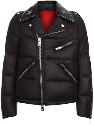 Valentino Studded Leather Collar Puffer Jacket