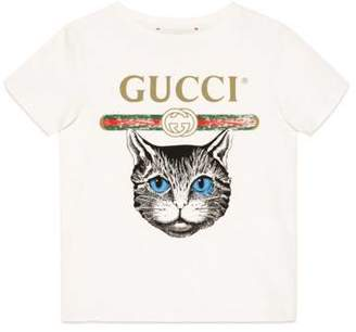 Gucci Children's logo T-shirt with Mystic Cat