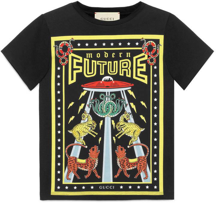 "Children's cotton t-shirt with ""Modern Future"" print"