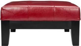 Safavieh Jordan Beechwood Bicast Leather Upholstered Square Cocktail Ottoman, Multiple Colors