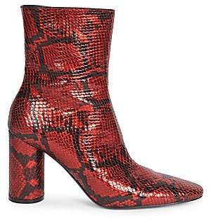 Balenciaga Women's Oval Block-Heel Snakeskin-Embossed Leather Ankle Boots