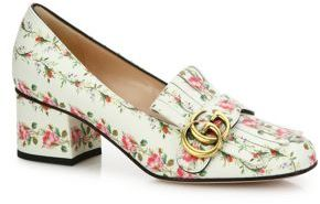 Gucci Marmont GG Kiltie Rose-Print Leather Loafers