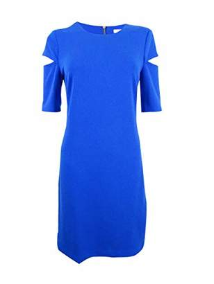 Calvin Klein Women's Solid Split Shoulder Shift Dress