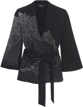 Akris Cherelle Double Face Embroidered Wool Wrap Jacket