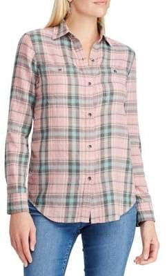 Chaps Petite Relaxed-Fit Denim Button-Down Shirt