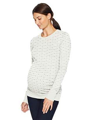 Motherhood Maternity Women's Maternity Long Sleeve Crew Neck Side Ruched Sweater,Extra