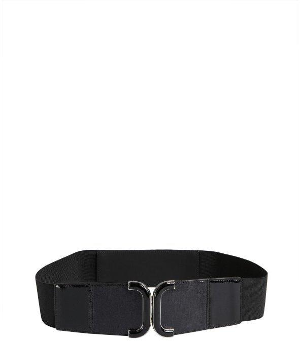 Fashion Focus black stretch faux-patent leather u-buckle belt