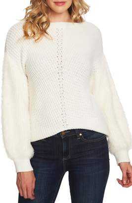 CeCe Fuzzy Sleeve Cotton Blend Pullover Sweater