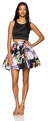 My Michelle Sequin Hearts by Junior's Two Piece Short Prom Dress with Floral Skirt